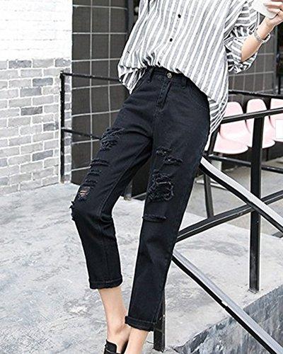 Femminili Strappati Pantaloni Nero Donne Mengmiao Ginocchio Jeans Del Grandi Slim 1Agwp