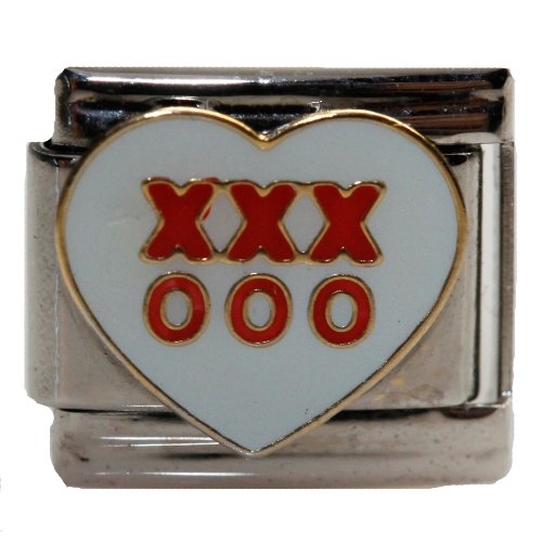 XOXO w/ Heart Italian Link Bracelet Charm - Heart Kiss Italian Charm