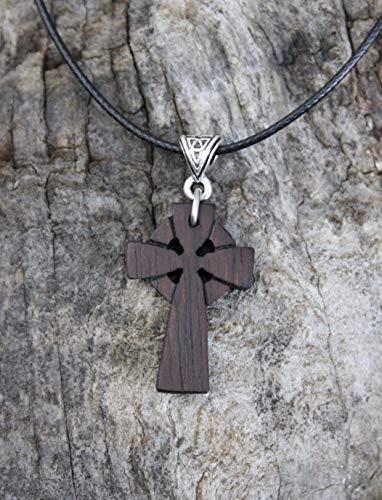 Celtic Cross Necklace, Handcarved Rosewood Celtic Cross Pendant, Unique Celtic Irish Jewelry From Ireland