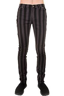 856d2ba397538 Mens Indie Vintage Retro 60s 70s Mod Black White Striped Stretch ...