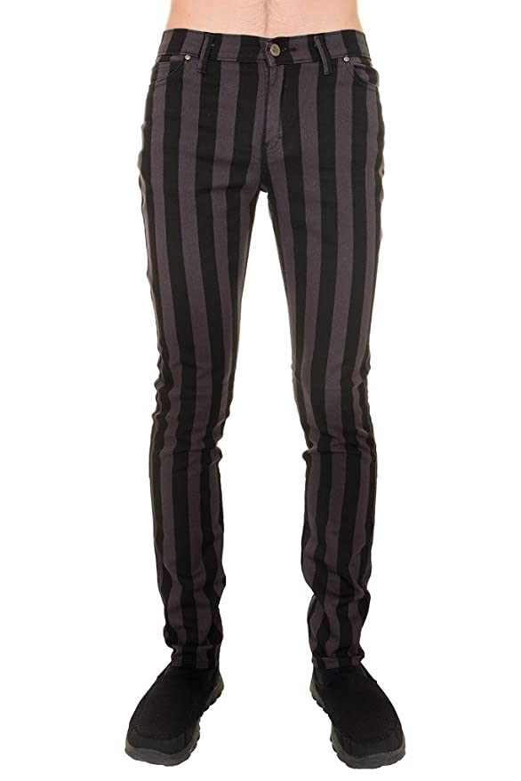 Men's Steampunk Clothing, Costumes, Fashion 60s 70s Mod Black Grey Striped Stretch Skinny Jeans $44.95 AT vintagedancer.com