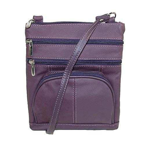 Ctm Pocket Femmes Violet Multi Crossbody Leather Zt1xwfq6