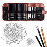 Dowswin 18 Pieces Pen Charcoal Sketch Set Sketching Pencil Set of Pencils Eraser Craft Knife Pencil Extender Roll up Canvas Carry Pouch Pro Art Supply for Beginners Artist