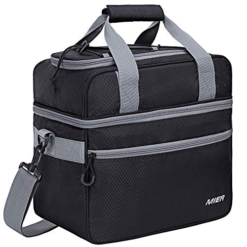 MIER Double Compartment Cooler Bag Large Insulated Bag for Lunch