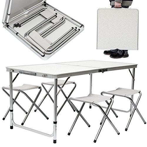 Hhenverstellbarer-Falt-Campingtisch-120-x-60-cm-vier-Klapphocker-Komplettes-Set-1x-Tisch-4x-Hocker