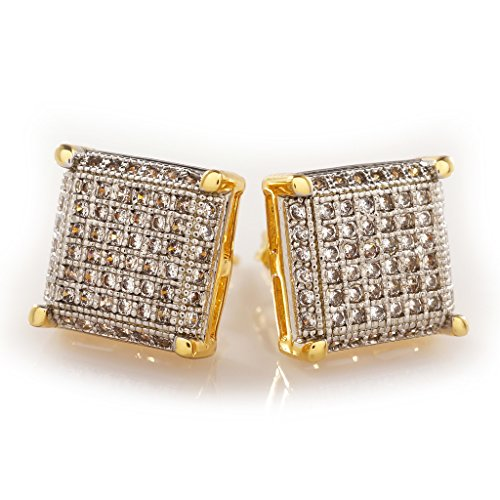 18K Gold Plated Silver ICED OUT Stud Square Earring (Mens Iced Out Bling Earrings)