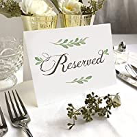 "4 Pack- White Greenery Reserved Wedding Table Signs - Folded Freestanding White Table Signs (4) - 6.25"" x 4.5"""