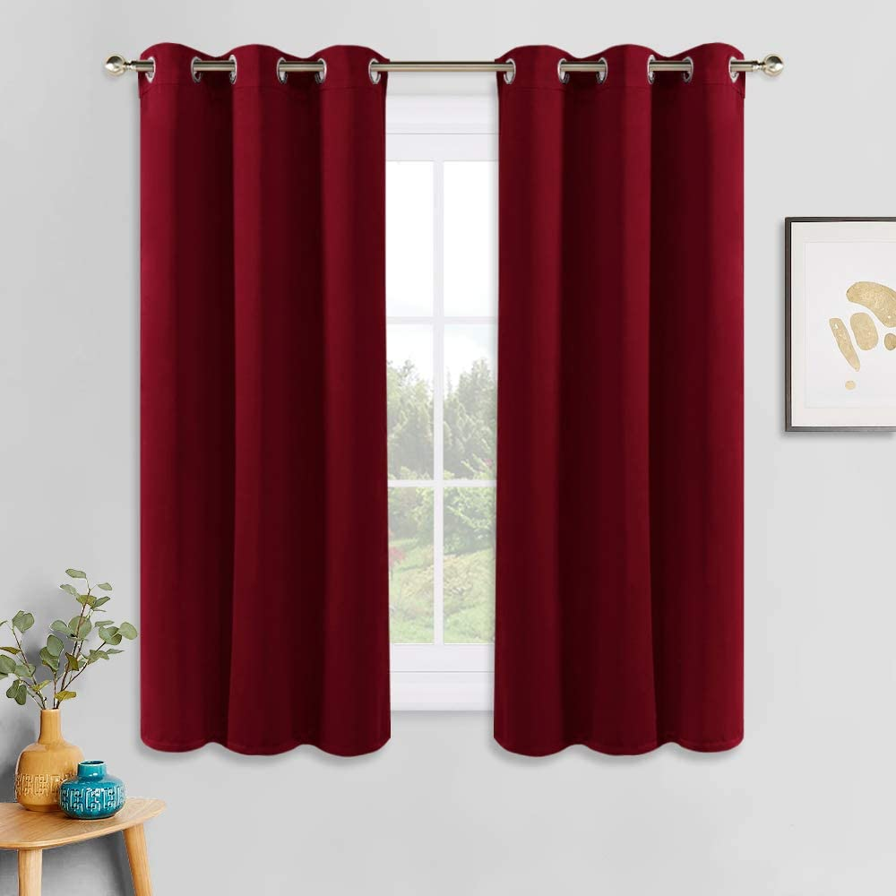 PONY DANCE Window Treatments Curtains - Home Decoration Thermal & Noise Reducing Grommet Blackout Curtain Panels/Light Block Privacy Protect for Bedroom, 42 by 45 inches, Red, Set of 2
