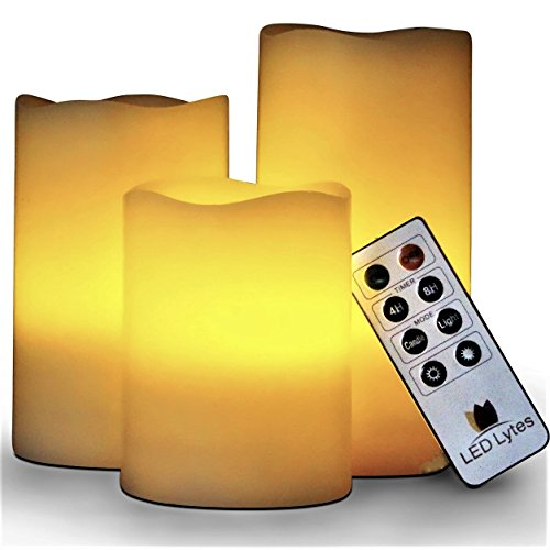 LED Lytes Flickering Flameless Candles - Set of 3 Ivory Wax Flickering Amber Yellow Flame, Auto-Off Timer Remote Control Fake Battery Operated Candles by LED Lytes