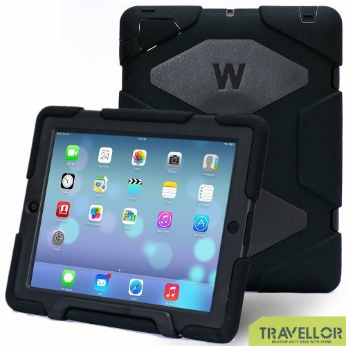 iPad Cases,iPad 2 Case,iPad 4 Case,TRAVELLOR[Heavy Duty] iPad Case,Three Layer Armor Defender And Full Body Protective Case Cover With Kickstand and Screen Protector for iPad 2/3/4 - Black