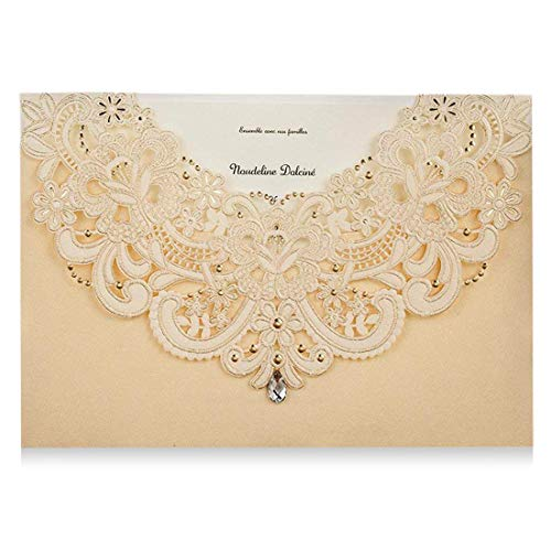 (Gold Laser Cut Flora Lace Wedding Invitations Cards with Rhinestone for Birthday Baby Shower Engagement Wedding invites (1 Piece Sample))