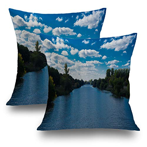 Shrahala Beach Pillow Covers, Decorative Pillowcases 18x18 inch Set of 2 Autumn Forest River Landscape Trees Cushion Case for Sofa Bedroom Car Throw Pillow Covers Cushion Cover 45cm x 45cm