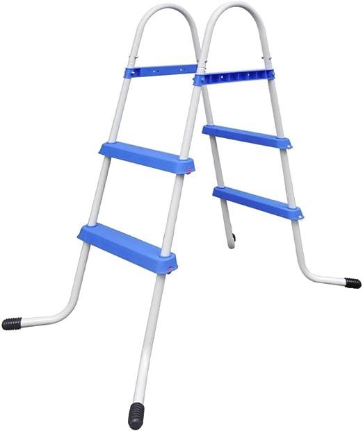 vidaXL Escalera Piscina Peldaños Antideslizantes 86,5cm Escalinata ...