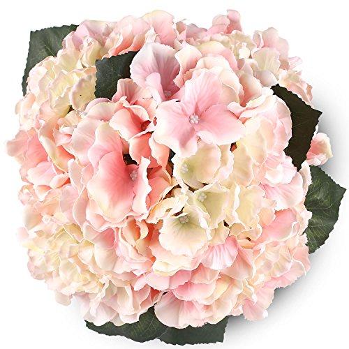 Silk Hydrangea Pink 5 Heads SOLEDI Artificial Flower Arrangements Bunch Bridal Bouquet Wedding Party Garden Home Decor