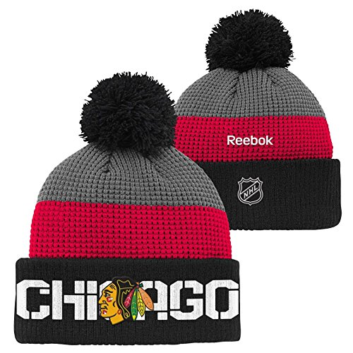 fan products of Chicago Blackhawks Youth 8-20 Reebok Center Ice Waffle Cuffed Pom Knit Hat