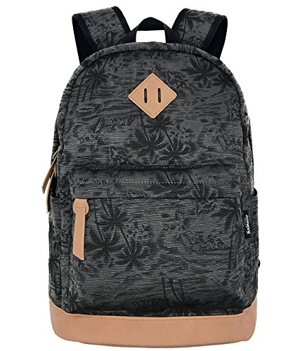 Unisex Lightweight Palm Tree Canvas College Backpacks Travel Hiking Laptop Backpack School Bags (Black Coconut Trees) (Trees Palm With Backpack)