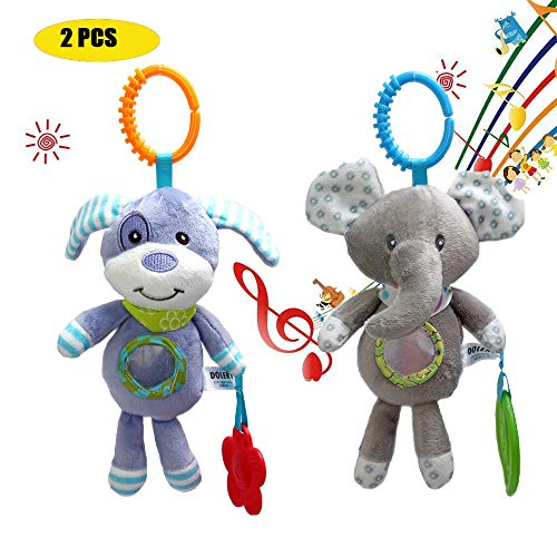 - 2 PICS Plush Adorable Animal Car Seat Hanging Rattle Toy for Infant Baby - Kids Stroller Crib Pram Ornament Bells Puppet with Wind Chime, Squeak and a Baby-Safe Mirror - Elephant & Puppy