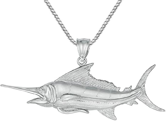14.0g Sterling Silver ALBACORE TUNA FISH 3D Solid Pendant Made in USA