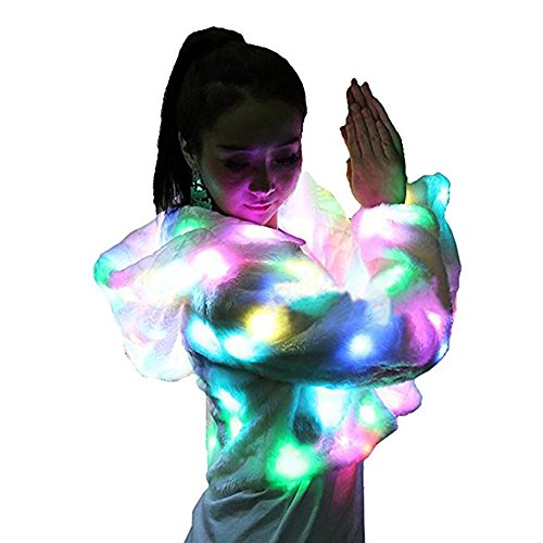 M MAYEVER Soft Faux Fur Led Jacket Light Up Winter Coat with Hood for Halloween Xmas Party Costume (XS/S, Long Sleeve) by M MAYEVER