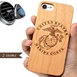 iProductsUS Military Phone Case Compatible with iPhone 8 7 6/6S (4.7 inch) and Magnetic Mount-Wood Phone Cases Engraved US Marines, Built-in Metal Plate, TPU Rubber Shockproof Protective Covers (4.7')