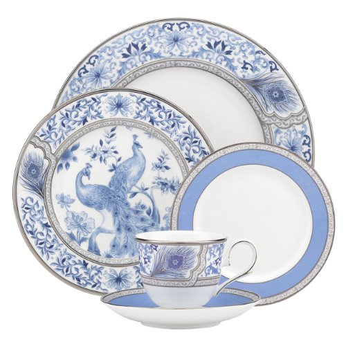 Lenox Marchesa Couture 5-Piece Place Setting, Sapphire Plume (Plates Peacock Blue)