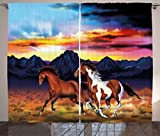 Ambesonne Western Curtains, Running Wild Horses at Sunset Artistic Rustic Landscape Colorful Sky Illustration, Living Room Bedroom Window Drapes 2 Panel Set, 108 W X 63 L inches, Multicolor
