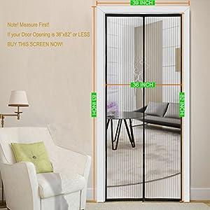 """Magnetic Screen Door 39''x83''Fits Doors Opening 36''x82'' 36""""x80"""",Mesh Magic For French Door/Sliding Glass Door"""
