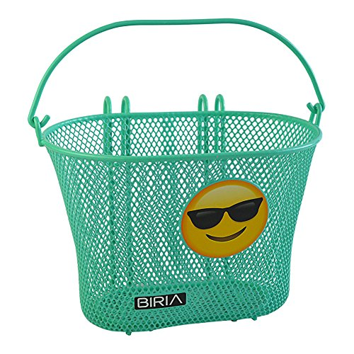 Basket with hooks GREEN SUNGLASS EMOJI Front , Removable, wire mesh SMALL, kids Bicycle basket , GREEN EMOJ by Biria