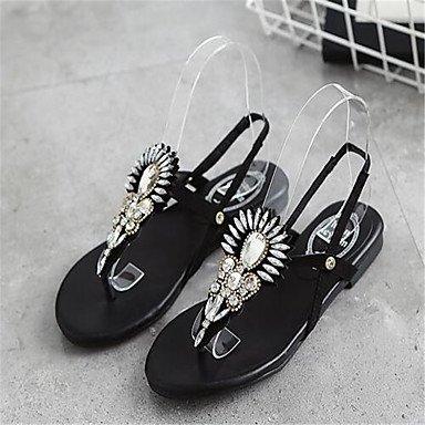 Sandalias de verano casual al aire libre PU cordón del talón plano Black