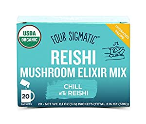 Four Sigmatic Reishi Mushroom Elixir, USDA Organic, chill and sleep, Vegan, Paleo, 20 Count, Packaging May Vary