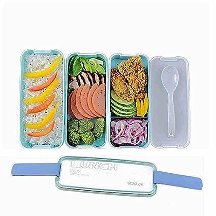 Fiambrera de plástico alimentos cajas de almuerzo viajes almacenamiento contenedor de alimentos con cuchara bento caja
