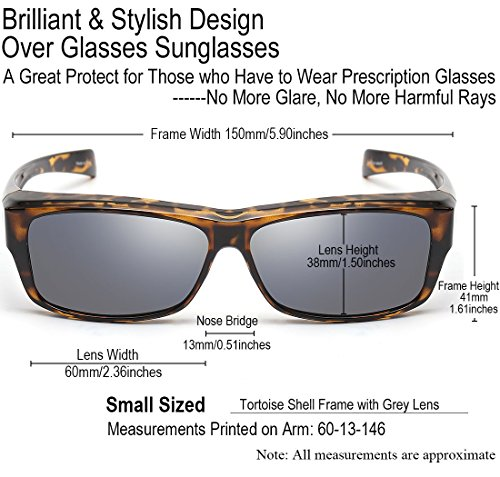 CAXMAN Polarized Fit Over Glasses Sunglasses for Prescription Glasses, Small Size, Tortoise Shell Frame with Grey Lens, 100% UV Protection by CAXMAN (Image #1)