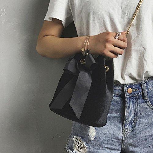 ESAILQ Bolso de Hombro Bolsa De Mochila Multiusos Compras Para Movil Mujer Niñas R Negro