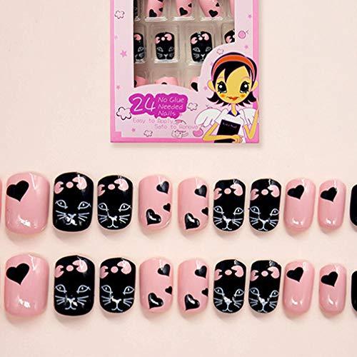 Lurrose 120 piezas de uñas postizas para niños uñas de ...
