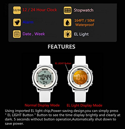WUTONYU(TM) Children Digital Watch Kids Boy Girls LED Alarm Stopwatch Waterproof Wristwatches(Black) by WUTONYU (Image #2)
