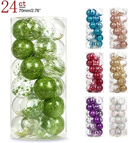 AMS 2.76/24ct Shatterproof Clear Plastic Christmas Ball Ornaments Decorative Xmas Balls Baubles Set with Stuffed Delicate Decoration (70mm Friut Green)