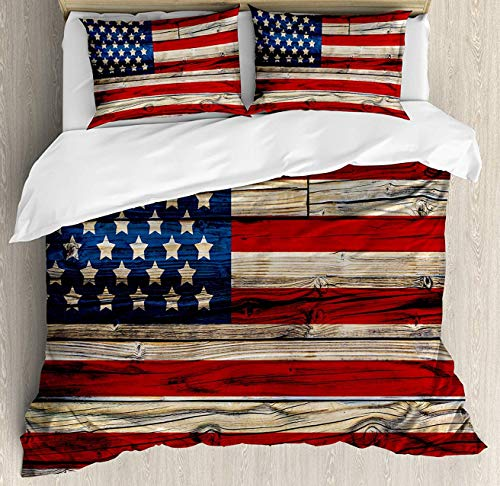 Teamery 4th of July Duvet Cover Set King Size,Wooden Planks Painted as United States Flag Patriotic Country Style Decorative 4 Piece Bedding Set with 2 Pillow Shams,Red Beige Navy Blue (94 Country With Blue On Its Flag)