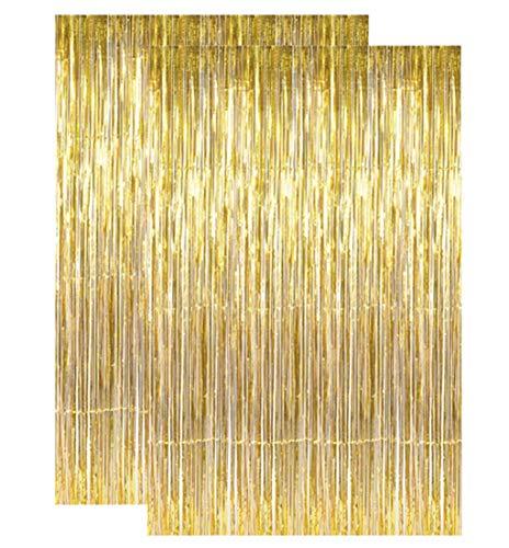 2 pcs Gold Metallic Tinsel Foil Fringe Curtains, Gold Foil Fringe Door Backdrop, 3ft x 8ft Decoration for Birthday Bridal Shower Baby Wedding Party Bachelorette Photo Booth