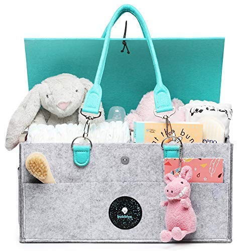 bubblyc Baby Diaper Caddy Organizer for Nursery and Changing Table. Large, Fits All Diaper Sizes and Other Baby Registry Items. Designed for Baby Travel with Removable Handles and Detachable Lid from bubblyc