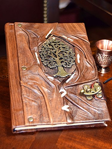 """Genuine Leather Writing Journal Sketch Book (Tree of Life) with 160 Cream Colored Pages and Brass C-Clasp (5.5"""" x 7.8"""") by Rustic Diary (Image #2)"""