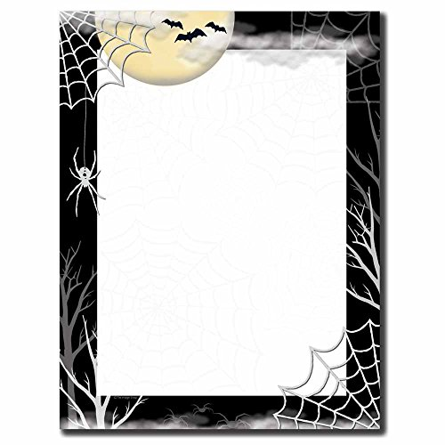 Image Shop Creepy Web Halloween Letterhead Laser & Inkjet Printer Paper (100pk),Black, White, Yellow -