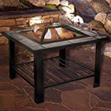 Pure Garden 50-104 30-Inch Square Fire Pit and Table with Cover, Black