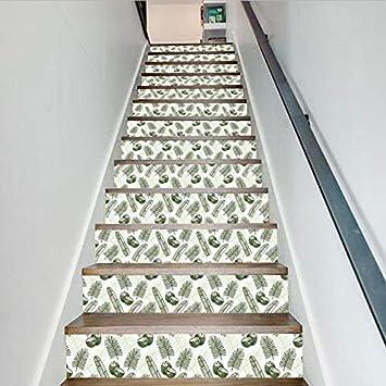 Pegatinas Para Escaleras Protección De Los Ojos Verdes Niño Salvaje Nórdico Decoración De La Habitación De Los Niños Calcomanías Escalera Moda Creativa Escaleras Pared Decorativa: Amazon.es: Bricolaje y herramientas