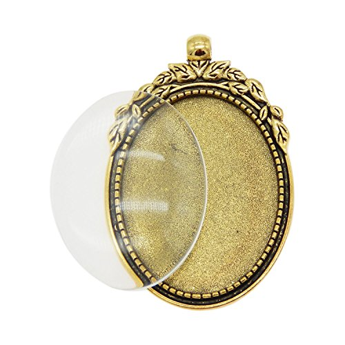 Julie Wang 10 Set Oval Antiqued Gold Photo Setting Bezel Tray Pendant Blank with Glass Clear 40x30mm Cabochons