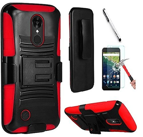 Faceplate Blue Clip Belt (Luckiefind Compatible with LG Aristo Lv3/LG Aristo 2/LG Tribute Dynasty/LG Fortune/LG Phoenix 3/LG Risio 2/LG Rebel 2/Zone 4, Dual Layer Hybrid Kickstand Cover Case Holster Clip (Red))