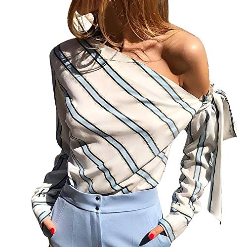 Orangeskycn Women Bow Tie Stripe Long Sleeve Loose Casual Blouse T-Shirt Blue