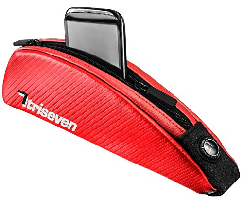 Aero Top - TriSeven Aero 30 Carbon Cycling Frame Bag - Lightweight Storage for Triathlons & MTB | Holds Large Cell Phones, Wallets, 10 Gels, Pump, Tools and More!