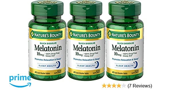 Amazon.com: Natures Bounty Melatonin 10 mg, 135 Quick Dissolve Tablets (3 X 45 Count Bottles): Health & Personal Care