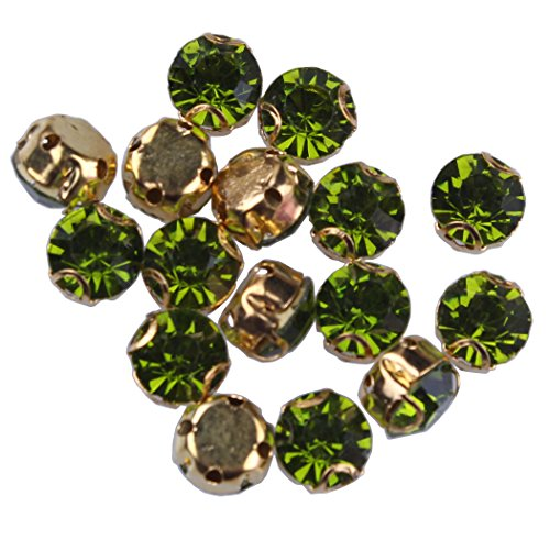 - ZIJING 50pcs Gold Setting Olive Green Czech Glass Rhinestone Rose Montees Beads with 4 Holes for Sew On SS35 (Olive Green-50pcs)