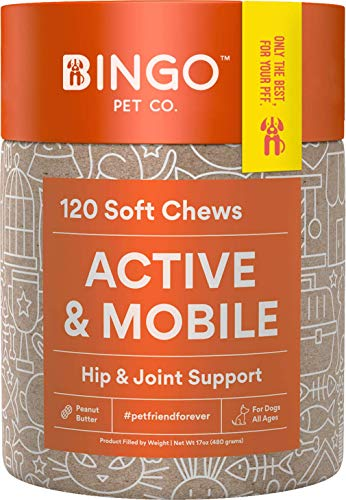 Hip and Joint Supplement for Dogs - 120 Soft Chewable Dog Treats with Glucosamine, Chondroitin, MSM, Organic Turmeric & Cetyle Myrisoleate Chews Bites Support for Arthritis Pain Relief & Mobility
